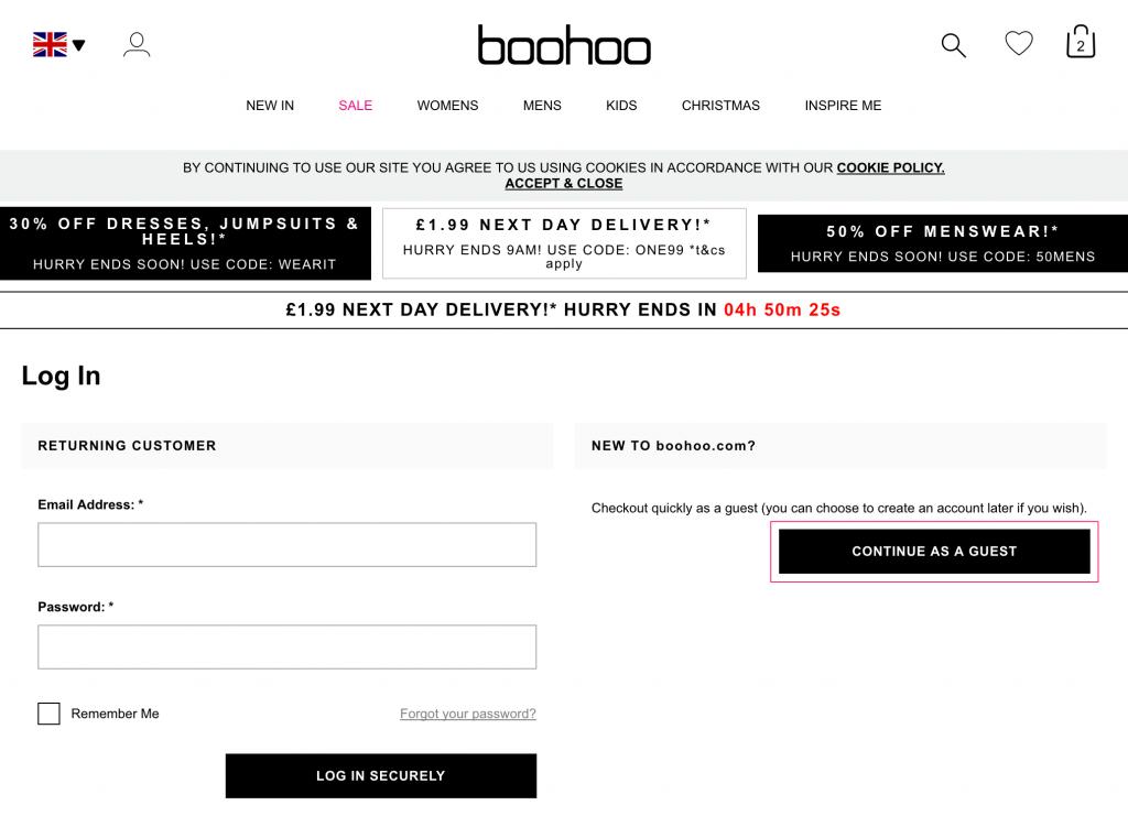boohoo 海外通販購入方法