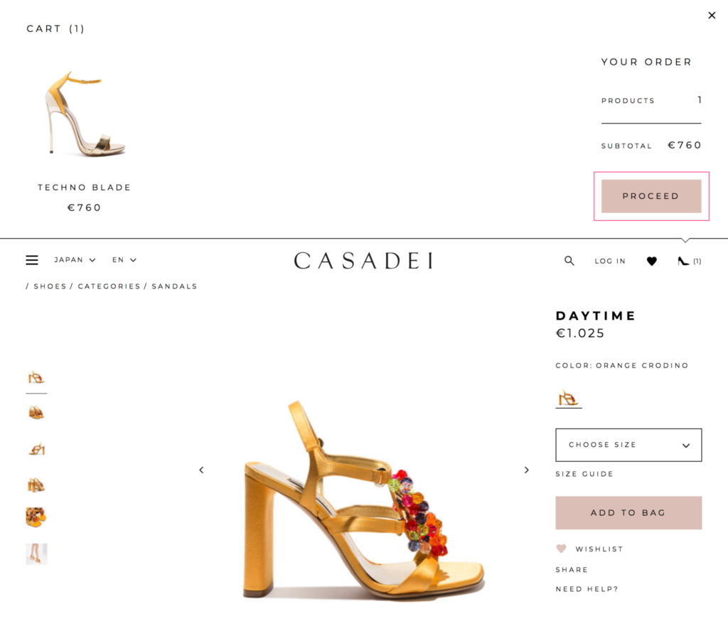 Casadei(カサディ)のパンプスを海外公式通販で購入する方法